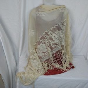 Vintage 70s Boho Fringed Shawl Made in Japan Ecru